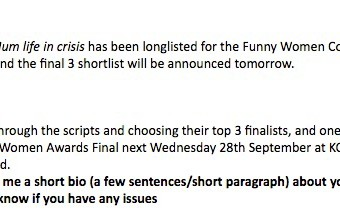 I got shortlisted for the Funny Women Awards Comedy Writing Award!
